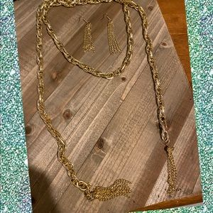 Scarf necklace gold new with earrings
